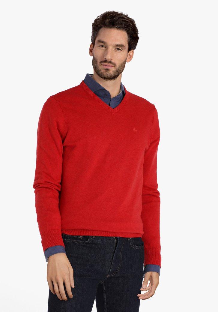 Rode katoenen trui met V-hals