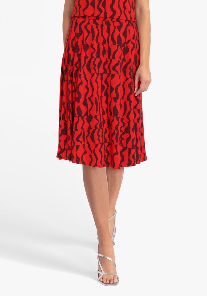Rode rok met bordeaux print en elastische taille