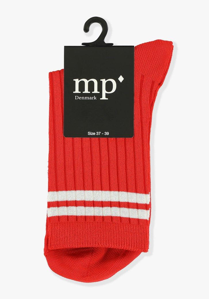 Rode sokken met witte strepen