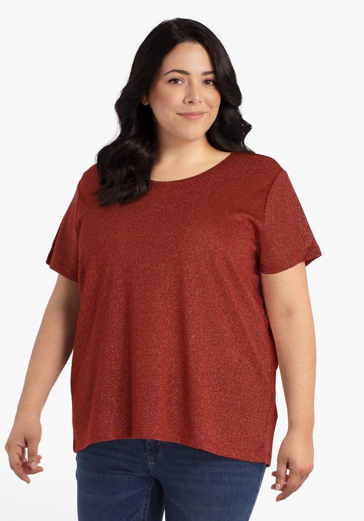 Rode T-shirt met gouden glitter