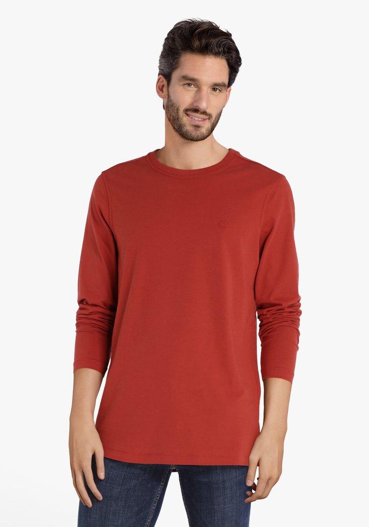 Rode T-shirt met lange mouwen