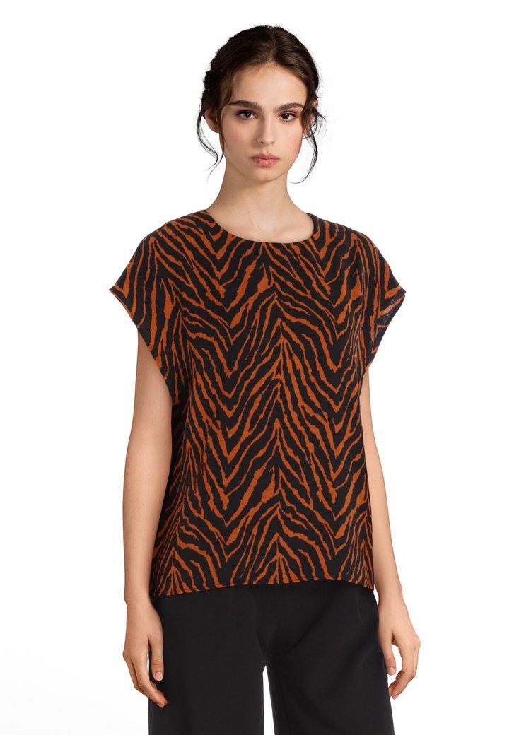 Roestbruine blouse met zwarte tijgerprint