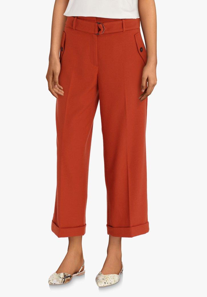 Roestbruine broek met striklint - straight fit
