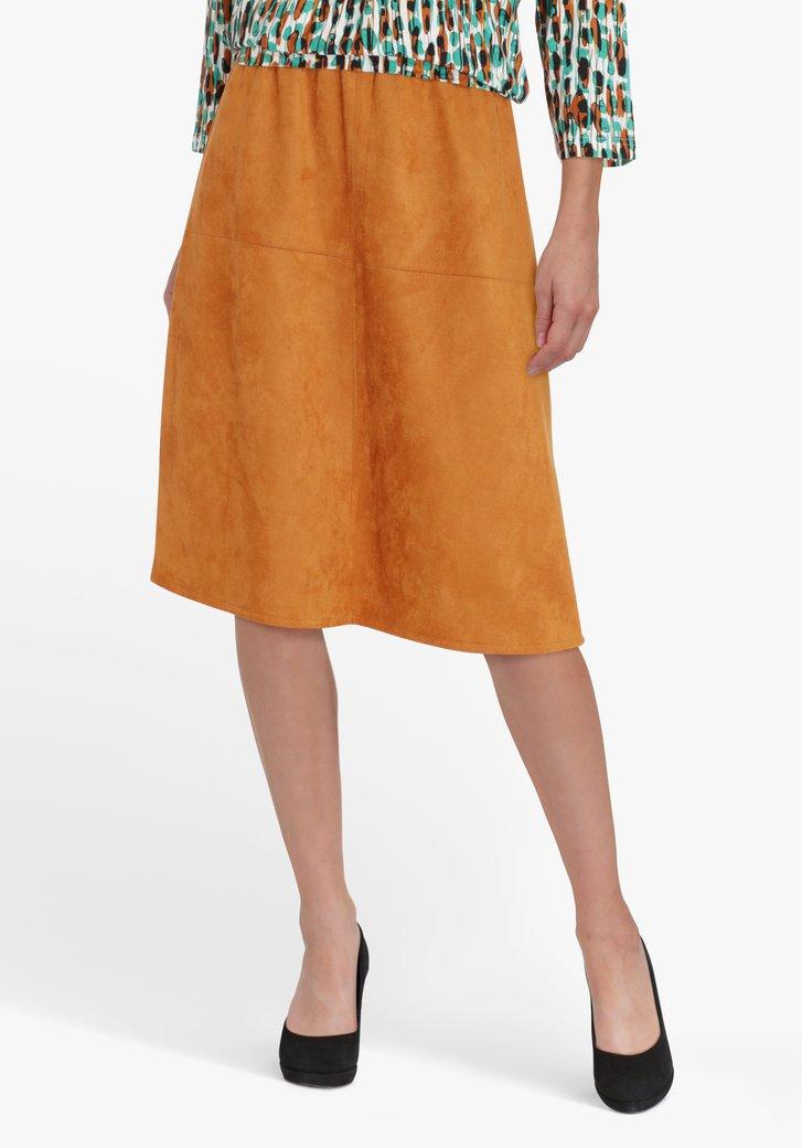 Roestbruine rok in suède met elastische taille