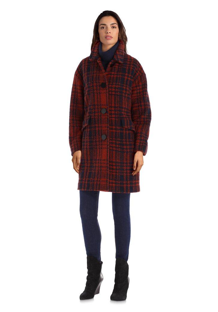 Afbeelding van Roestoranje-blauwe mantel met wol