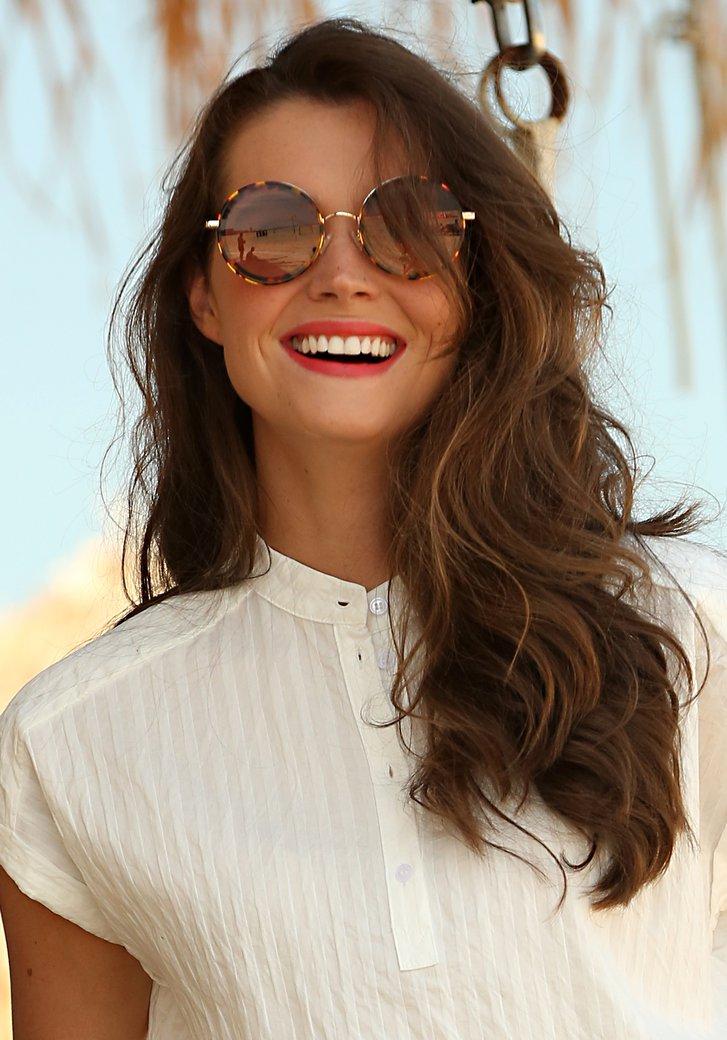 Ronde gevlamde zonnebril