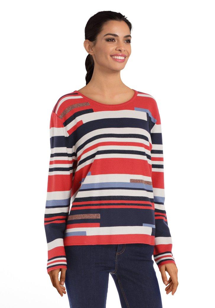 Rood-blauw gestreepte trui met lurex
