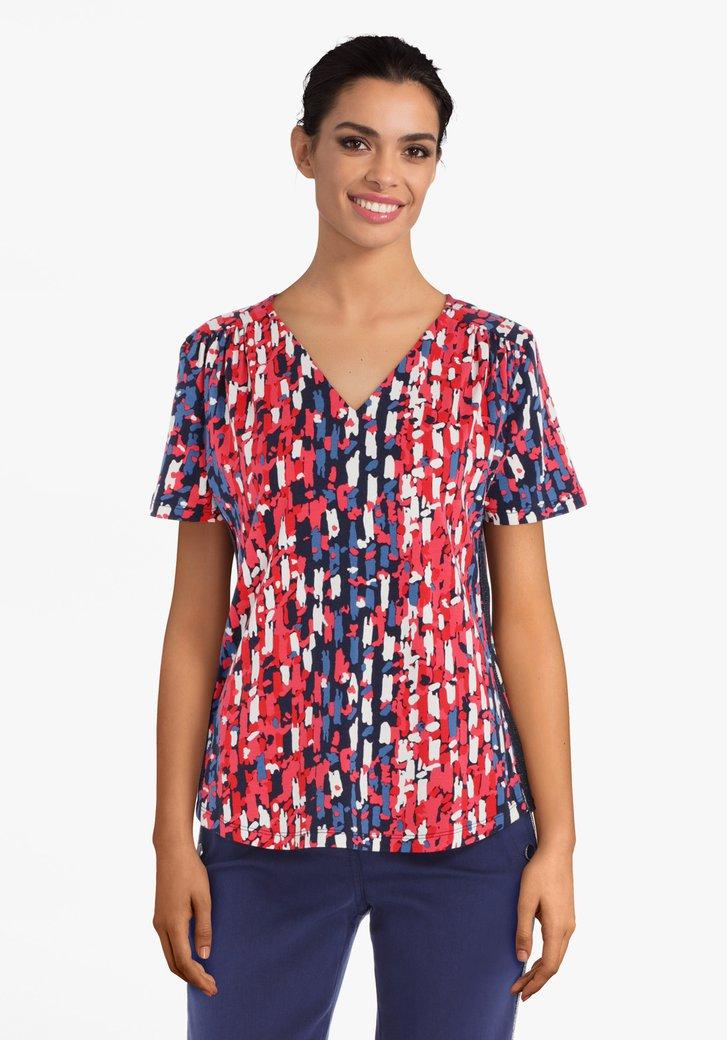 Rood-blauw T-shirt in viscose
