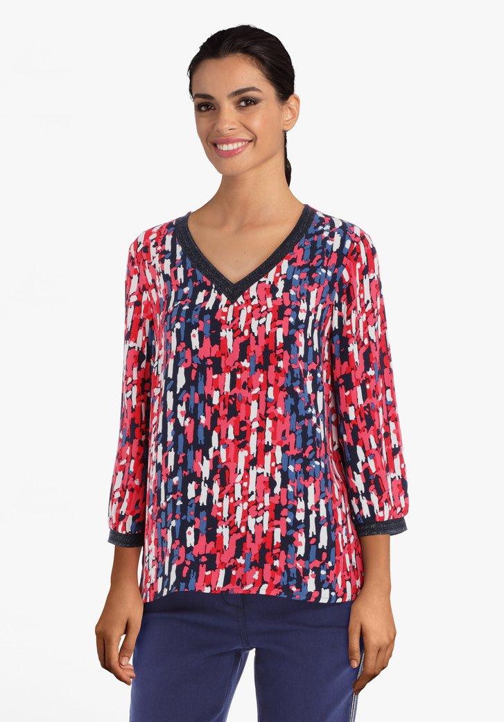 Afbeelding van Rood-blauwe blouse in viscose