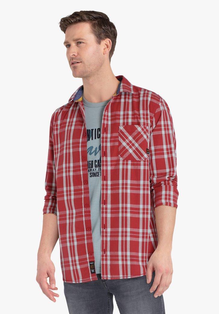Rood-grijs geruit hemd