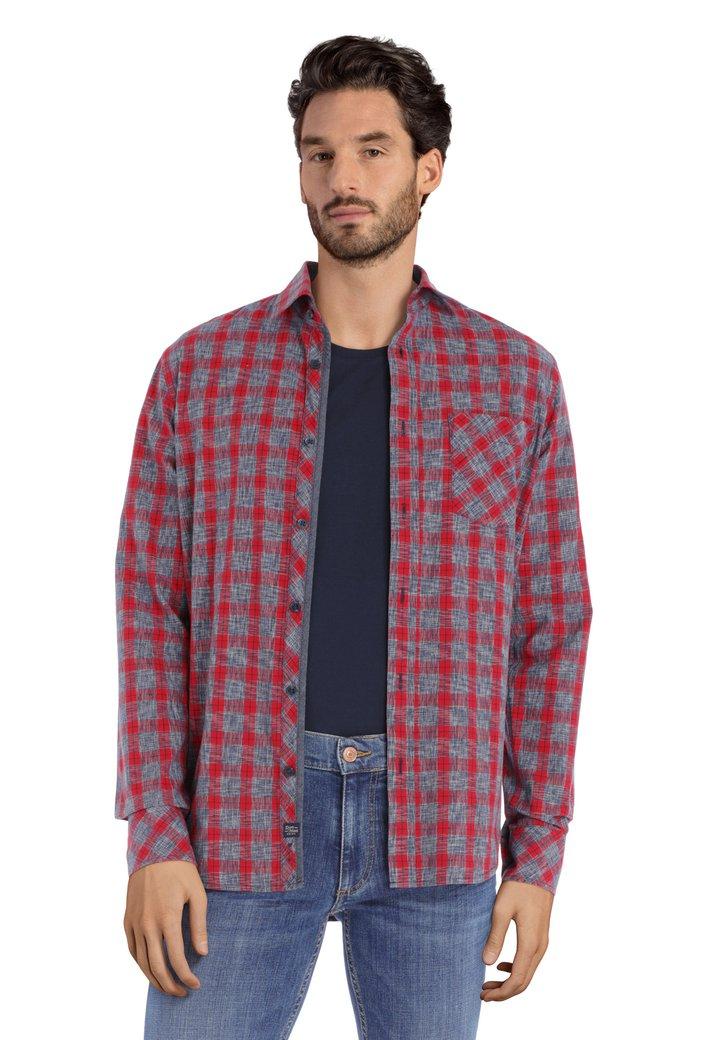 Rood-grijs geruit hemd - regular fit