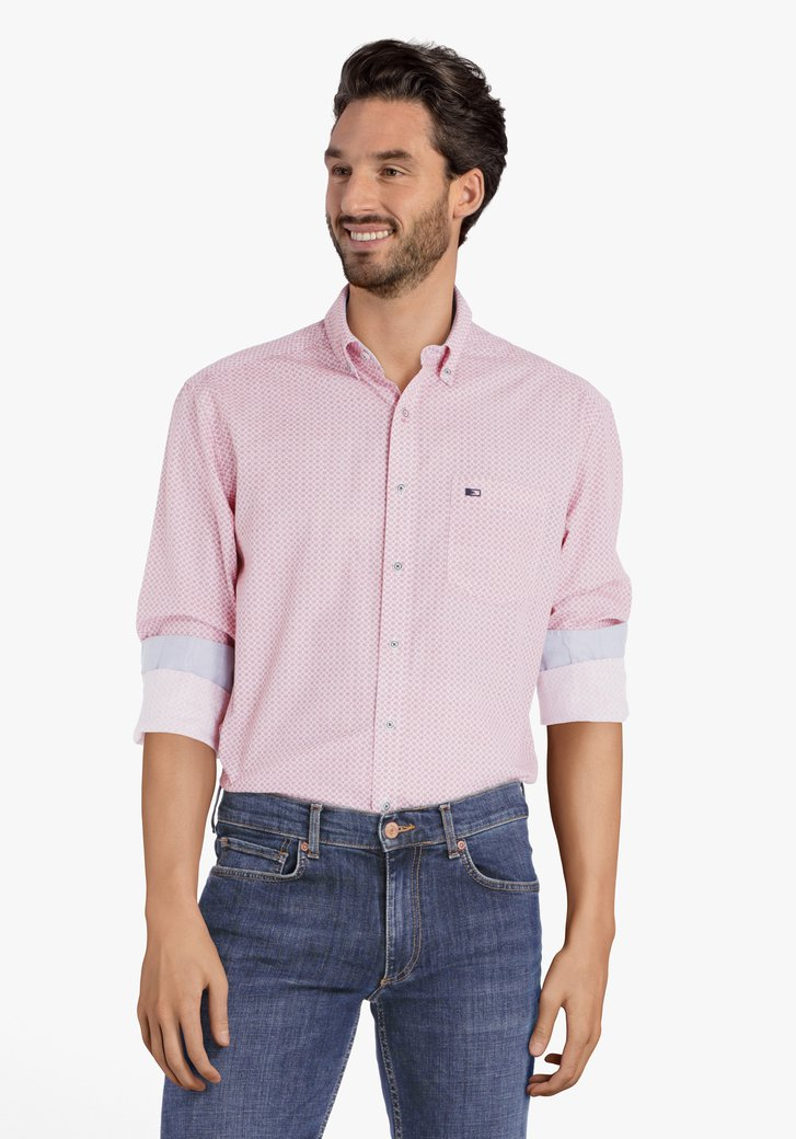 Rood hemd met miniprint – regular fit