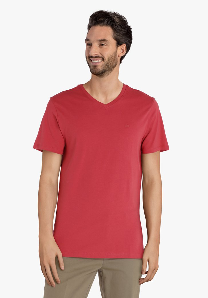 Rood katoenen T-shirt met V-hals