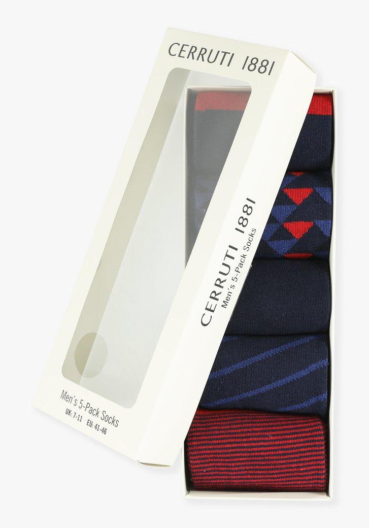 Rood-navy sokken, 5-pack