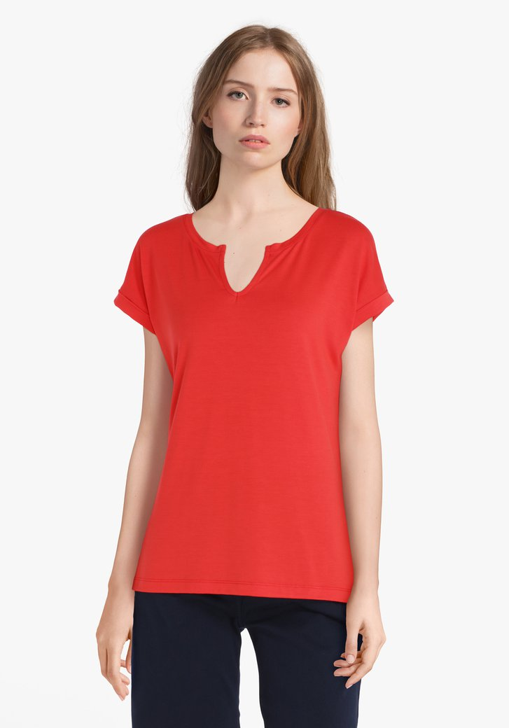 Rood T-shirt in modal