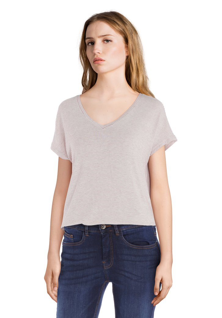 Rood-wit gestreept T-shirt met v-hals