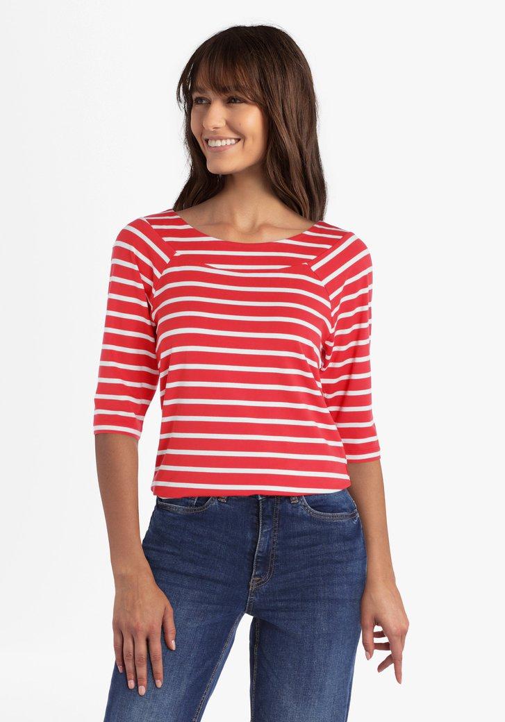Rood-wit gestreepte T-shirt met 3/4 mouwen