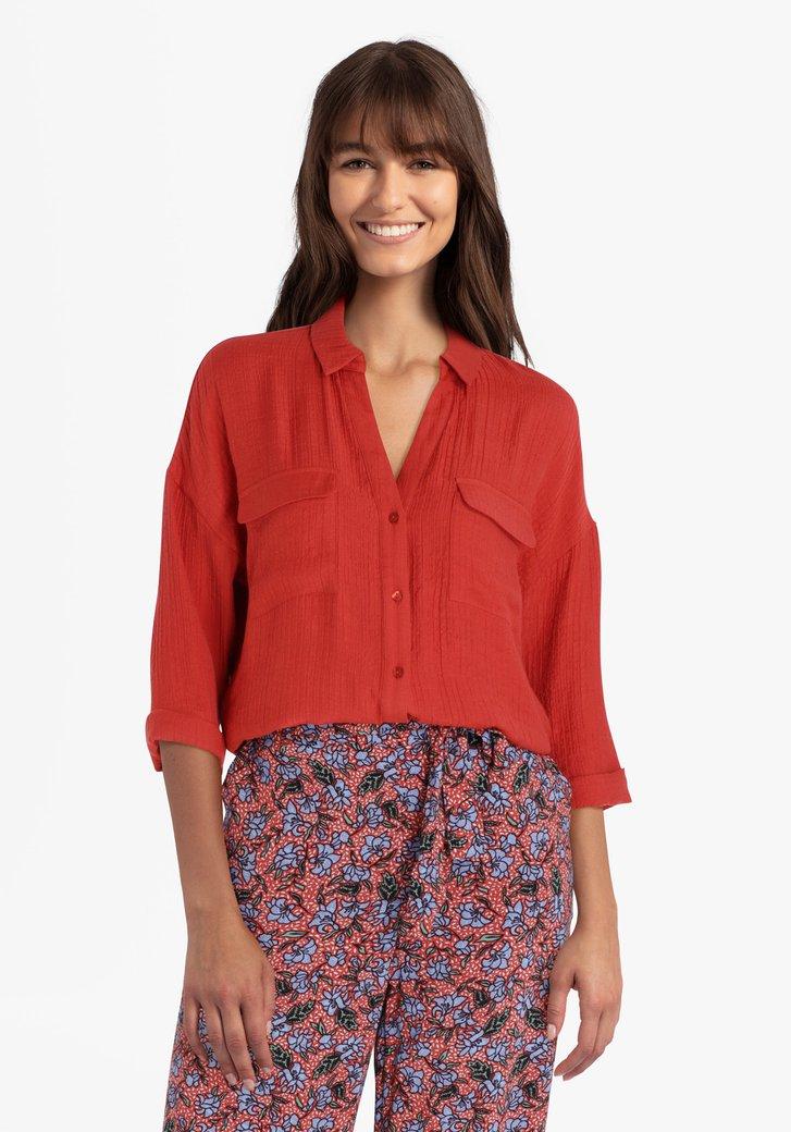 Roodbruine blouse met 3/4 mouwen