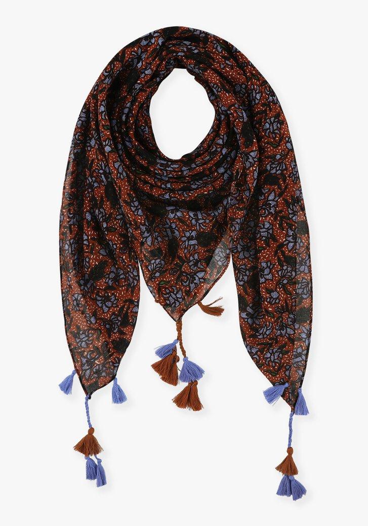 Roodbruine sjaal met bloemenprint en franjes