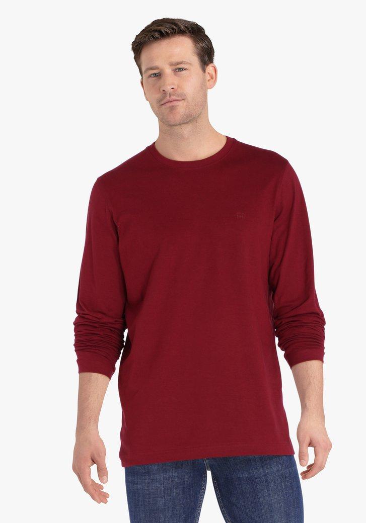 Roodbruine T-shirt met lange mouwen