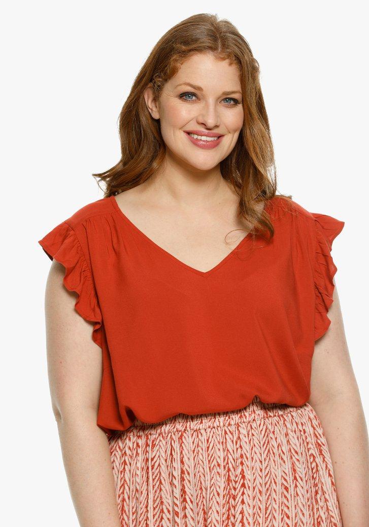 Roodoranje blouse met ruches