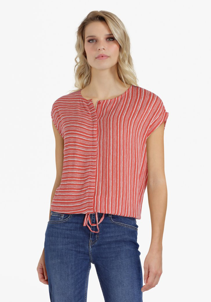Roodoranje blouse met witte strepen