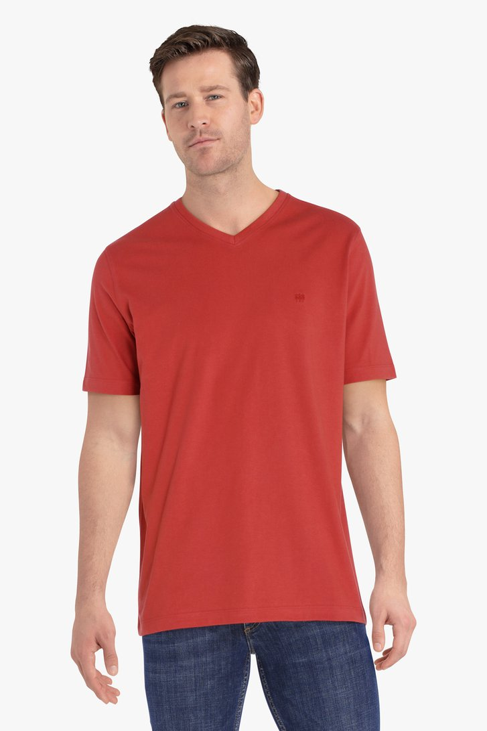 Roodoranje T-shirt met V-hals