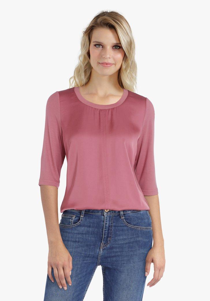 Roze blouse met 3/4de mouwen