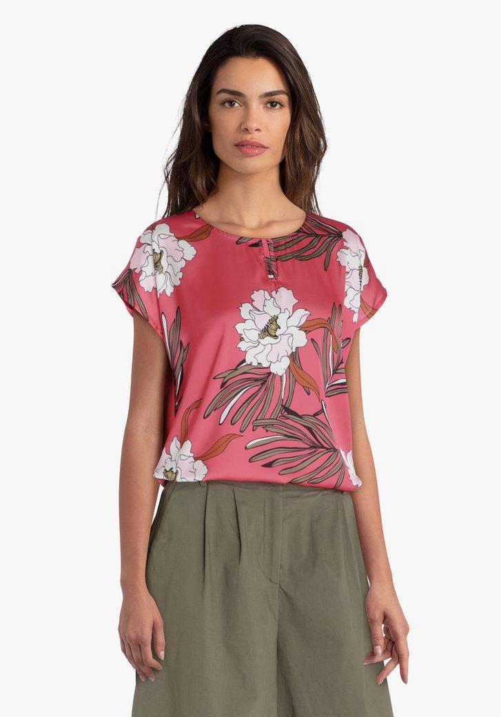 Roze blouse met bloemenprint