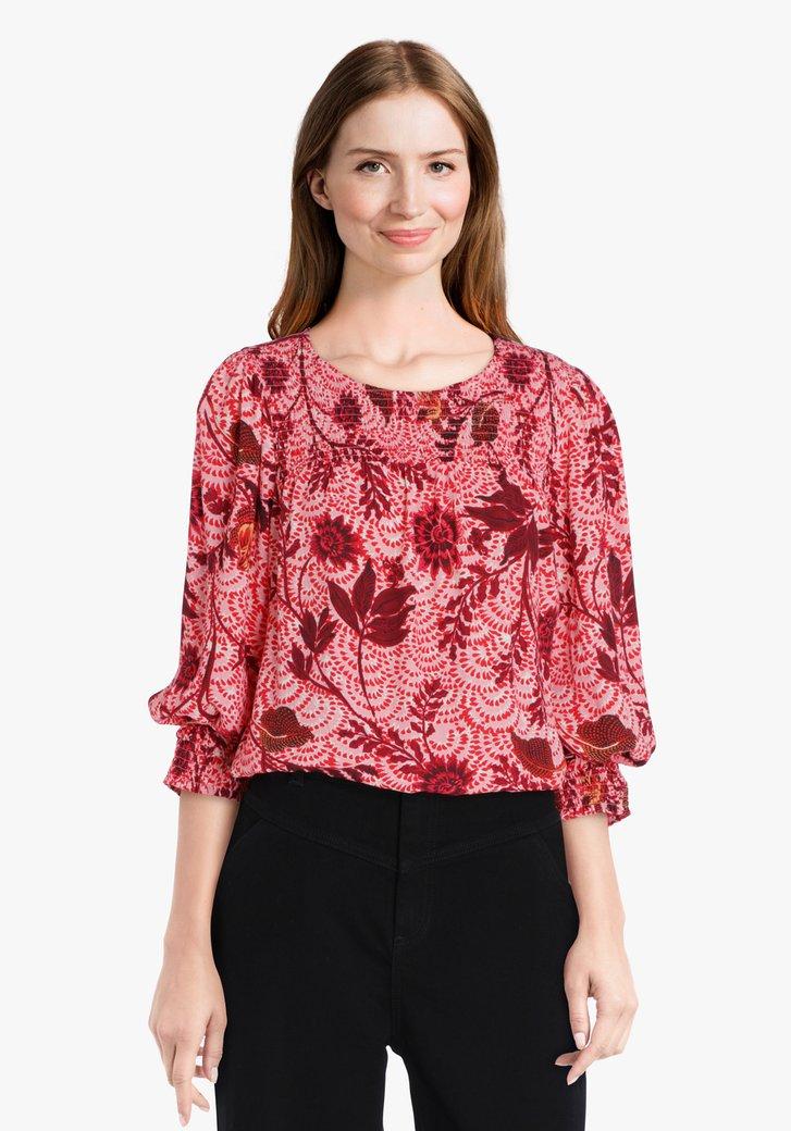 Roze blouse met bordeaux bloemenprint
