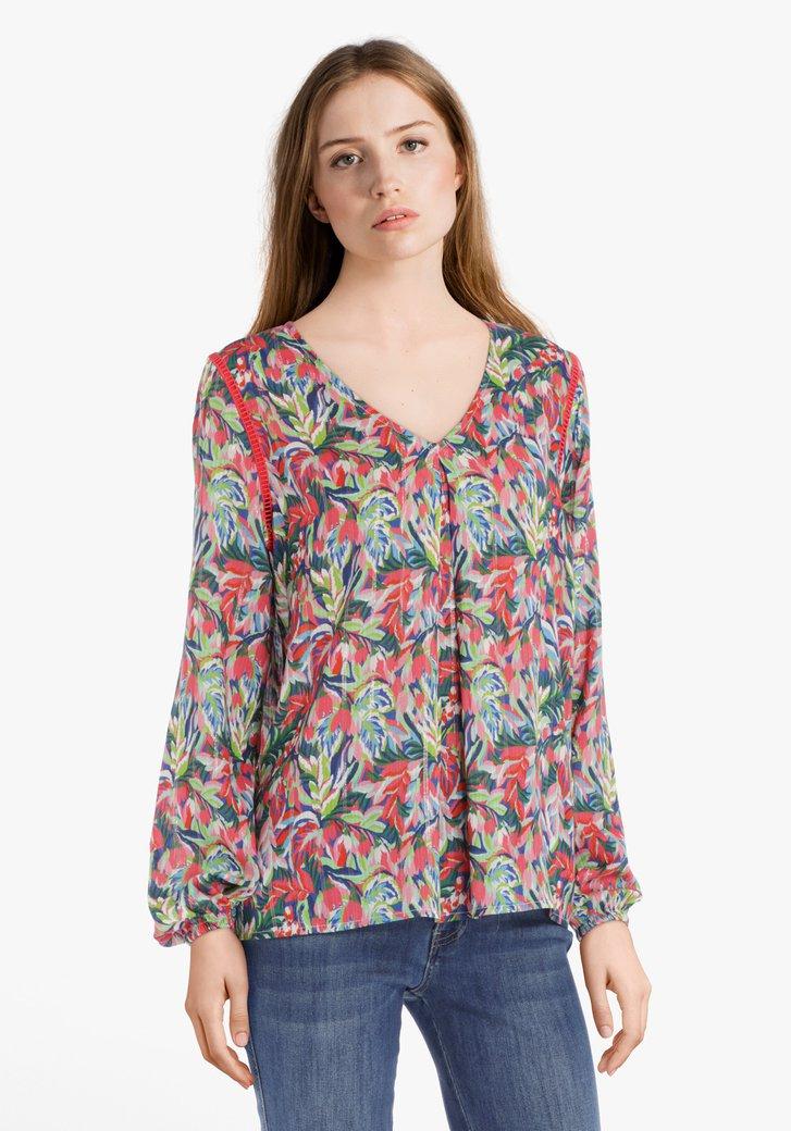 Roze blouse met exotische bloemenprint