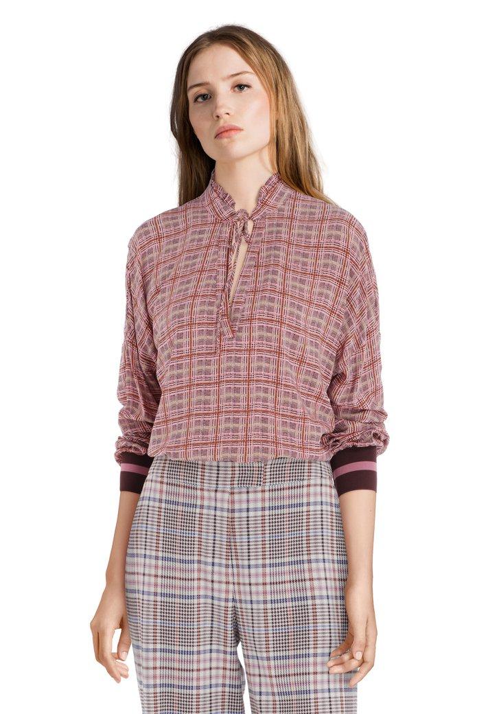 Afbeelding van Roze blouse met fijne ruiten
