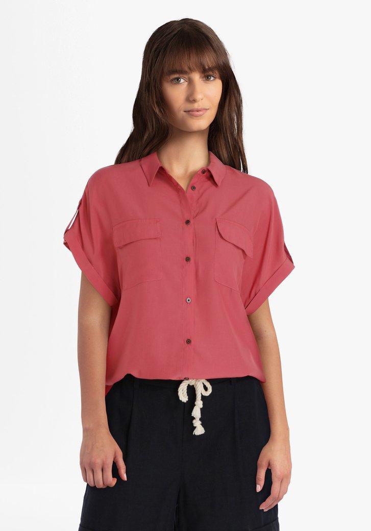 Roze blouse met knopenlijst