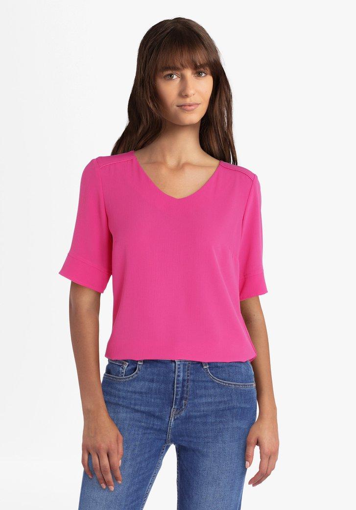 Roze blouse met V-hals
