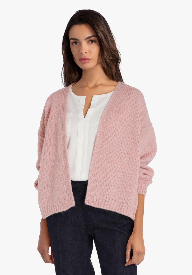 Roze gebreide cardigan