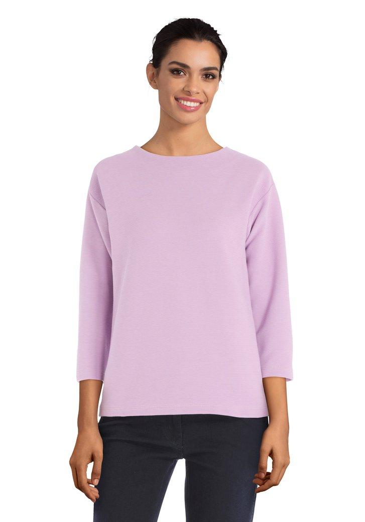 Roze geribbelde T-shirt