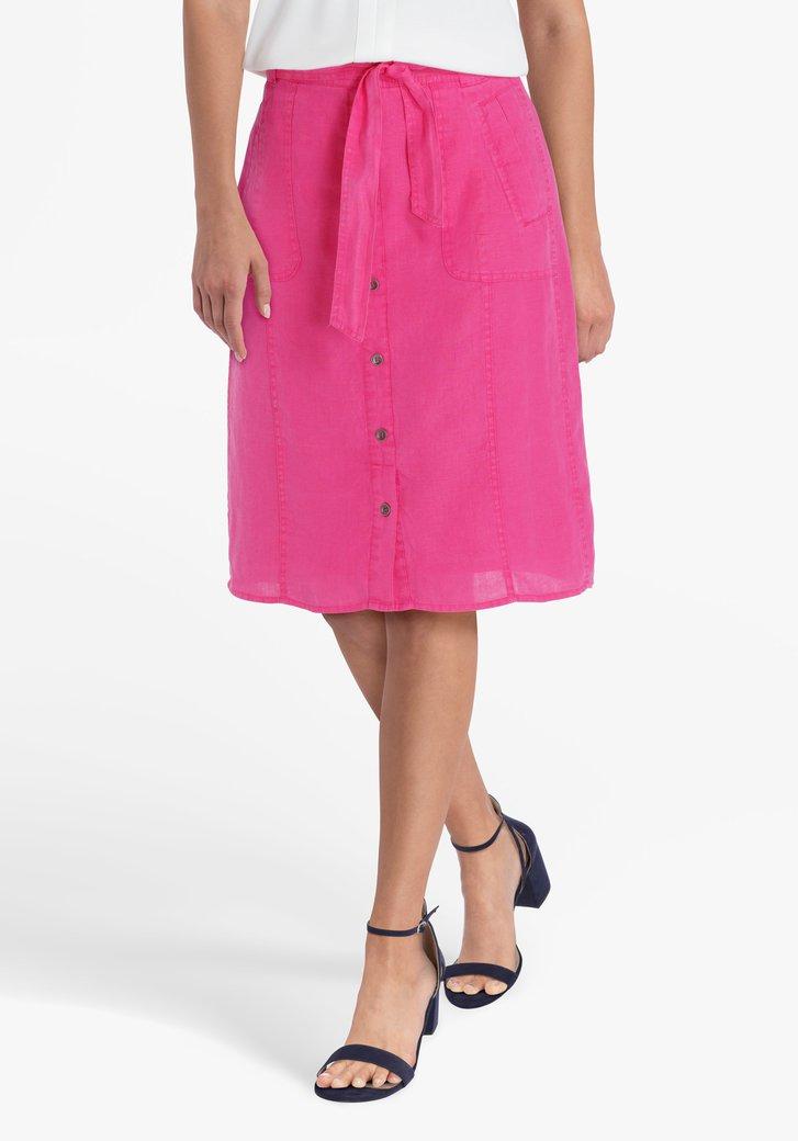 Roze linnen rok met striklint