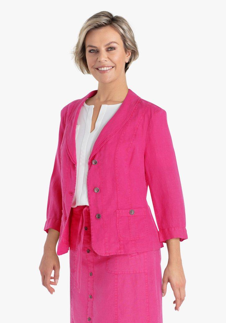 Roze linnen vest met knopjes