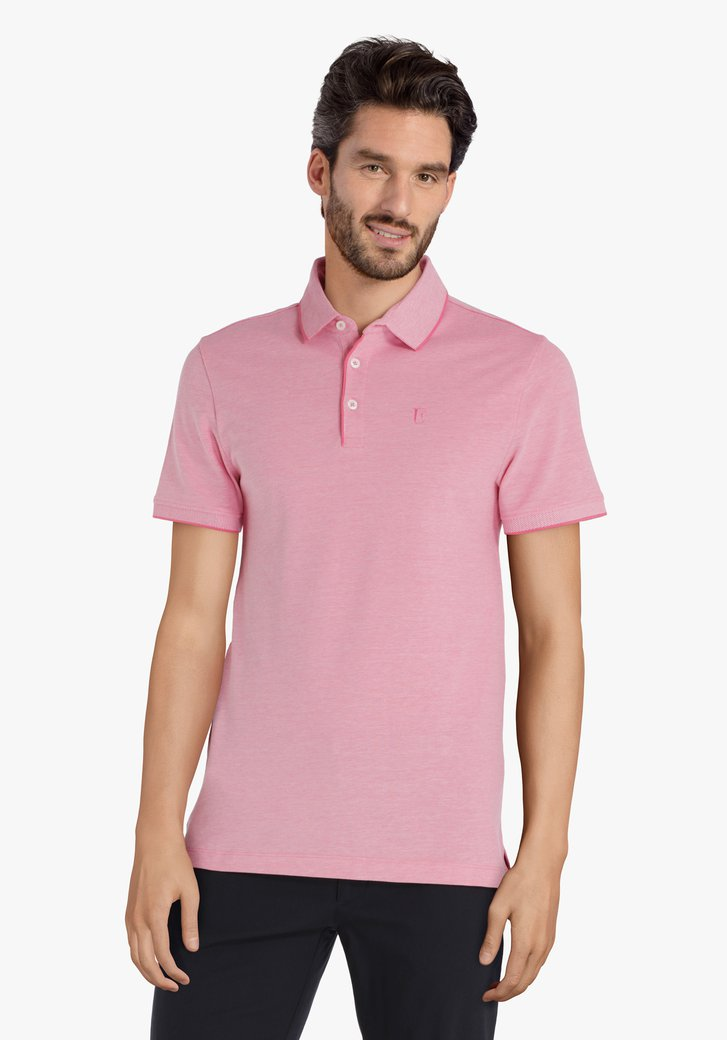 Roze polo met witte chiné