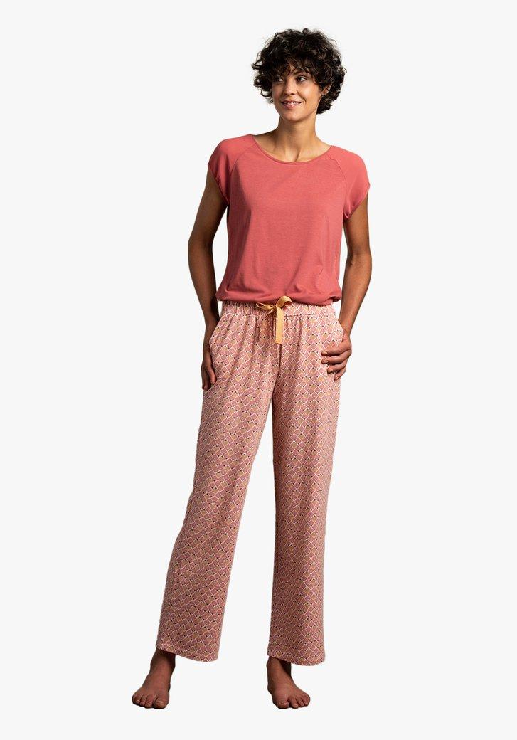Roze pyjama met print op de broek