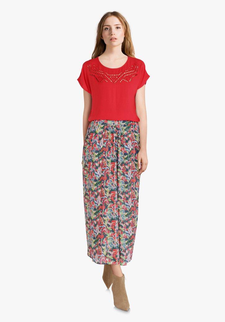 Roze rok met exotische bloemenprint en lurex