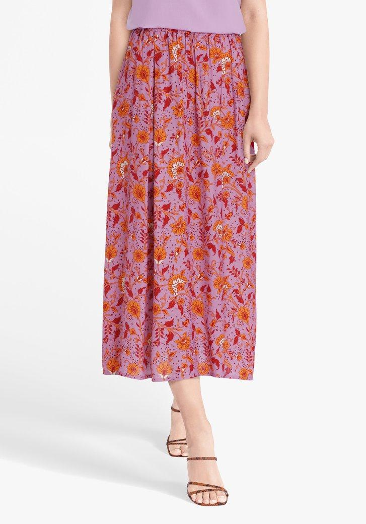 Roze rok met oranje bloemenprint