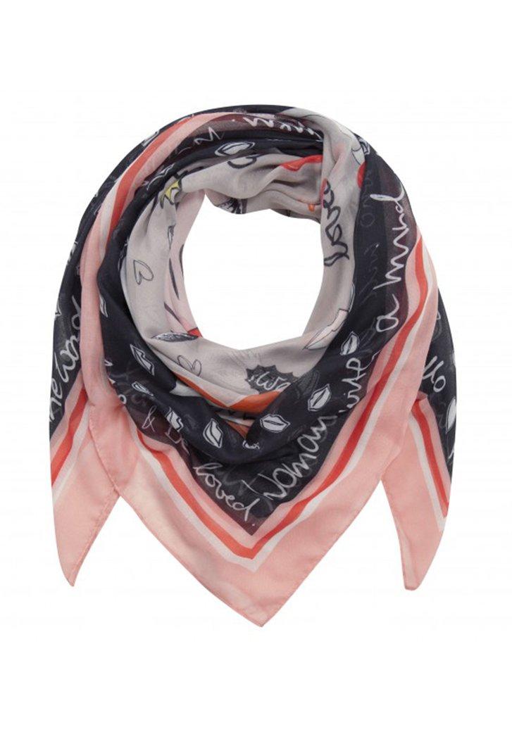 """Roze sjaal met opschrift """"strong women"""""""
