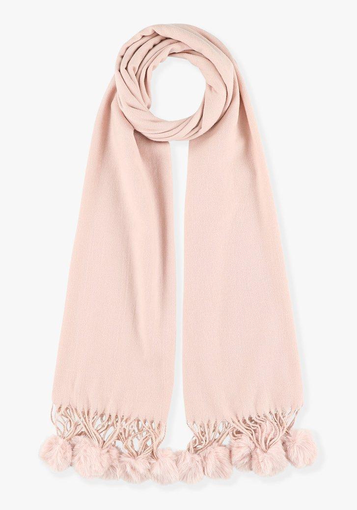 Roze sjaal met pomponnen