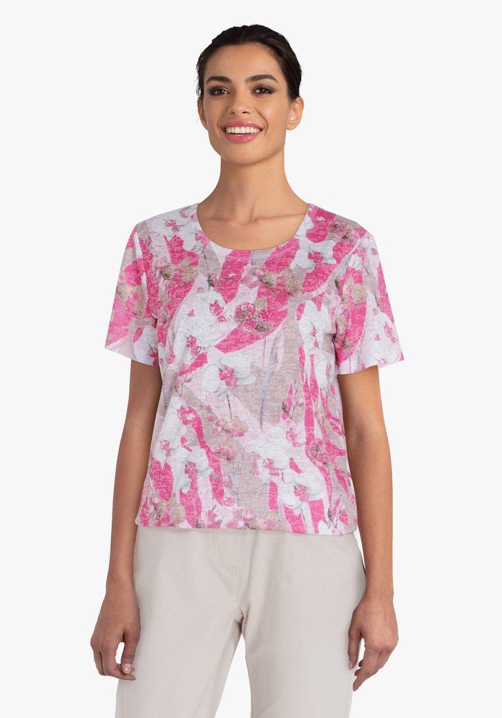 Roze T-shirt met bloemen en glitters