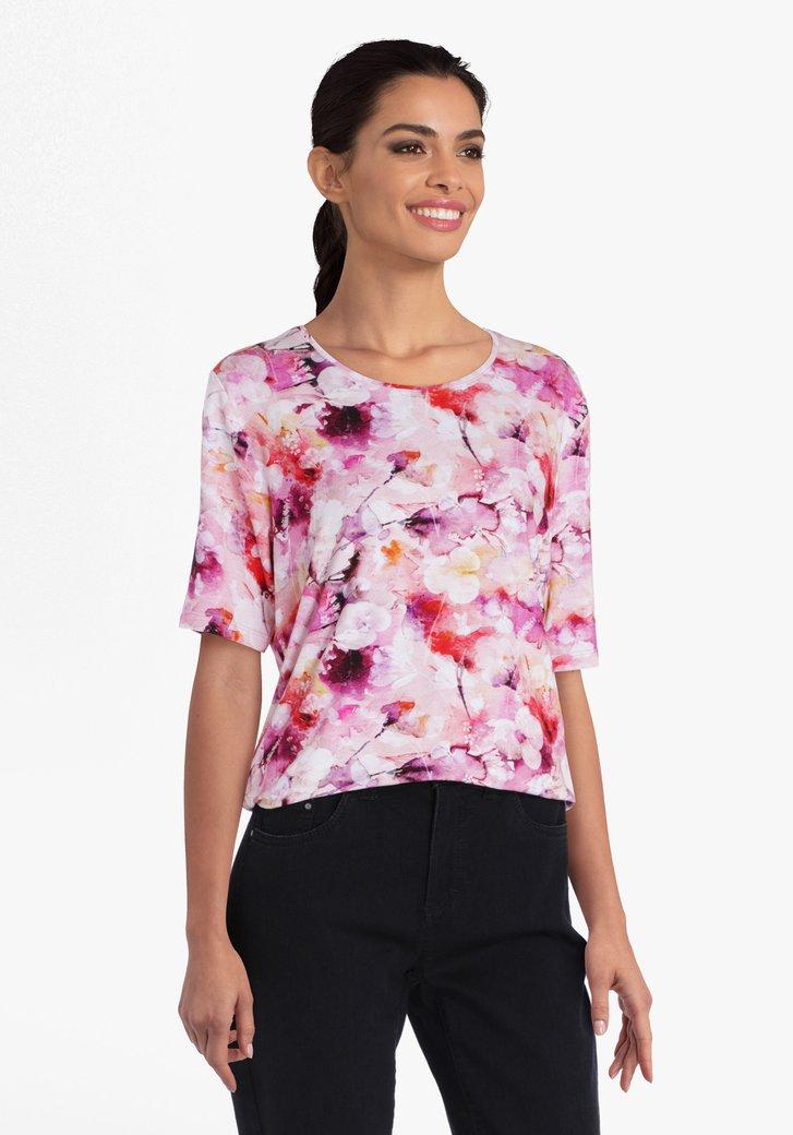Roze T-shirt met bloemenprint