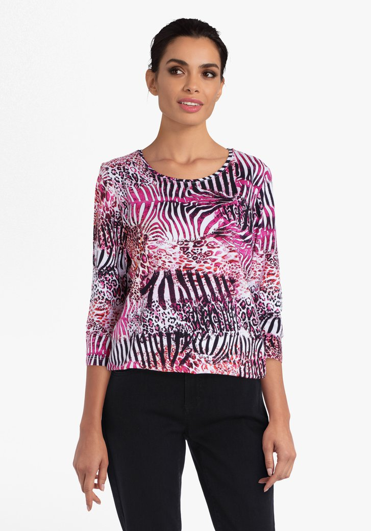 Roze T-shirt met dierenprints