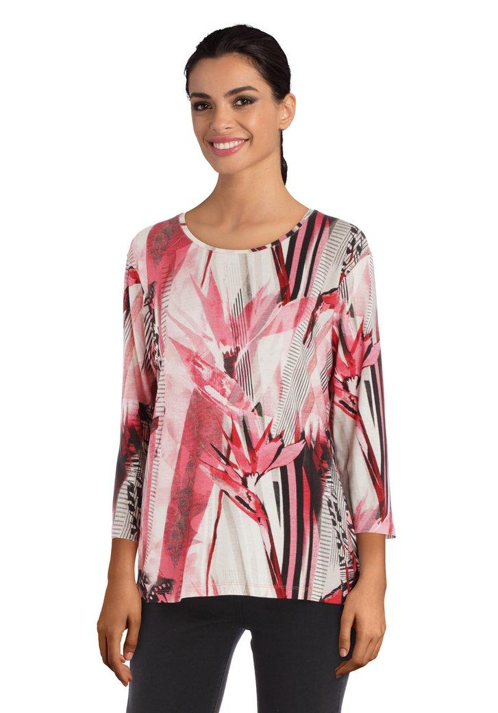 Roze T-shirt met print in viscose
