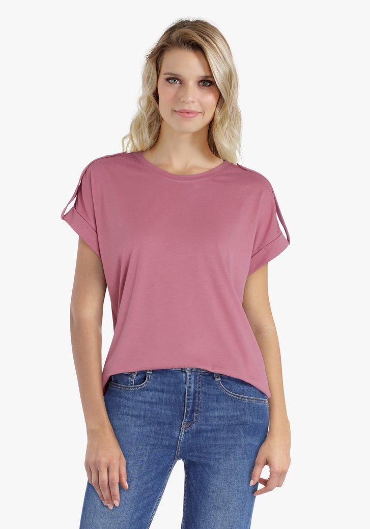Roze T-shirt met schouderdetail