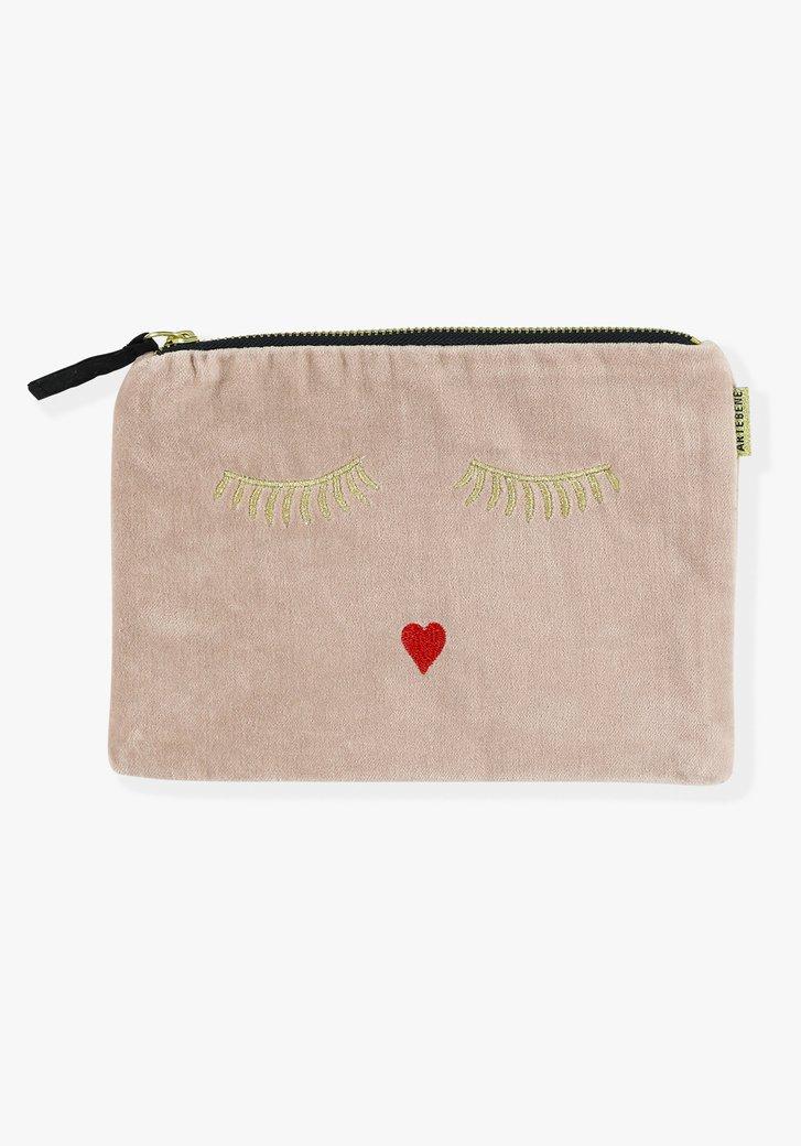 Roze tas met goudkleurige opdruk